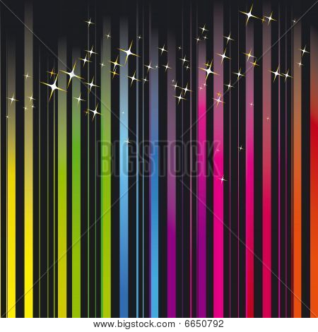 Rainbow colors stripe with sparkling stars
