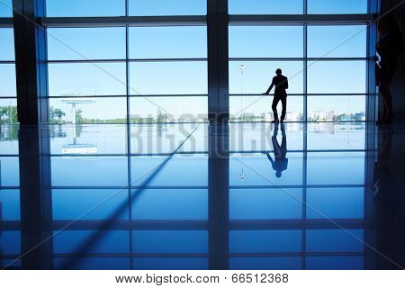 Outline of white collar worker standing by the window of office
