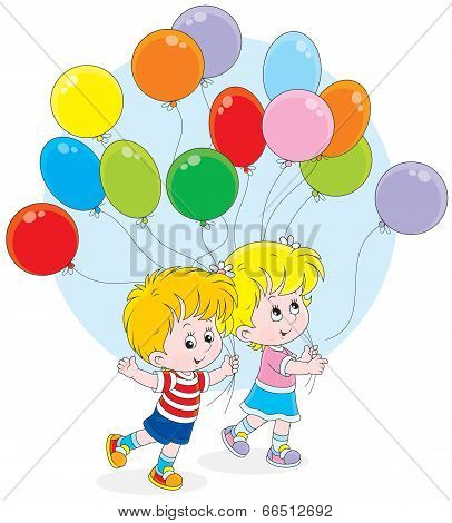 Children with colorful balloons