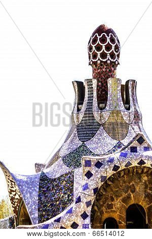 Colorful mosaic building in Park Guell Barcelona, Spain