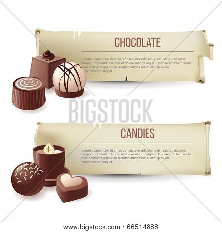 2 vintage banners with chocolate candies