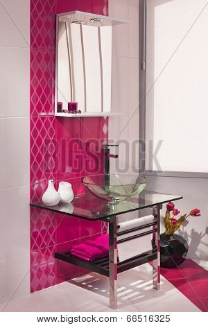 Detail Of A Modern Bathroom Interior In Pink And White