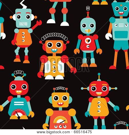 Seamless kids robots illustration colorful background pattern in vector
