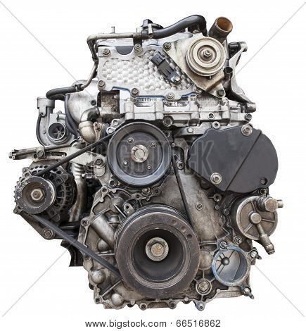 Front View Of Old Diesel Engine Isolated White Background Use For Motor Industry Repairs And Garage