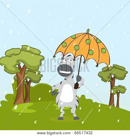 Kiddish concept with donkey under the umbrella on nature background.