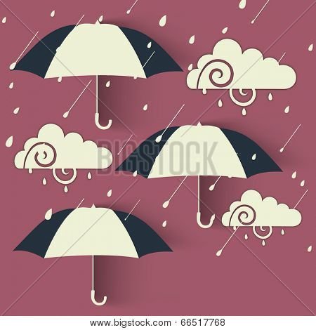 Beautiful design for Rainy Season concept with open umbrellas and cloud on abstract background.