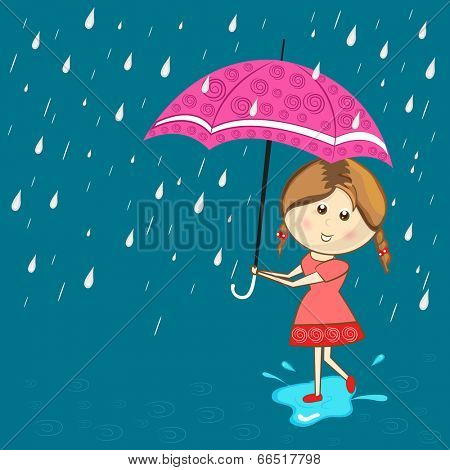 Cute little girl under the umbrella in the rain on blue background concept for Happy Monsoon Season.