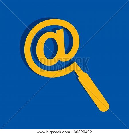 Technology search concept - Mail symbol male a magnifier icon stock vector