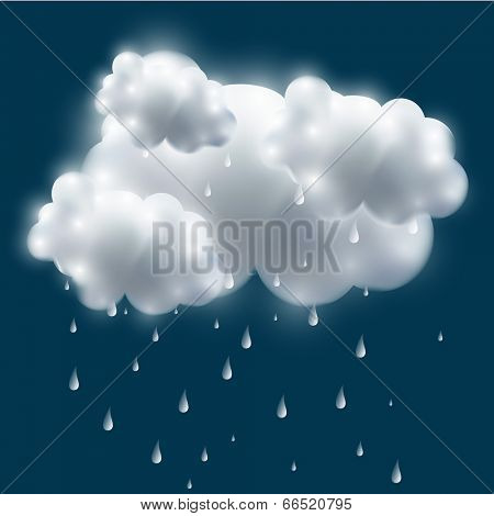 Shiny stormy cloud with rain drops on blue background, Monsoon Day concept.