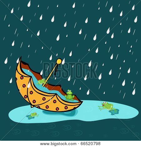 Happy Monsoon season concept with cute frogs playing in a umbrella with full of water in the rain on abstract background.