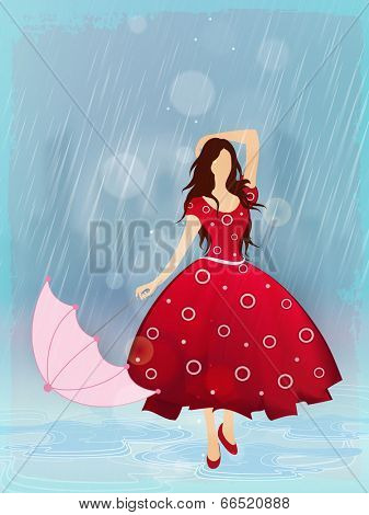 Pretty young girl holding the umbrella dancing in the rain.