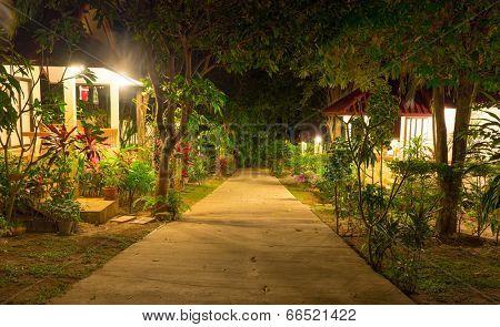 night view of tropical resort at Koh Samui island Thailand