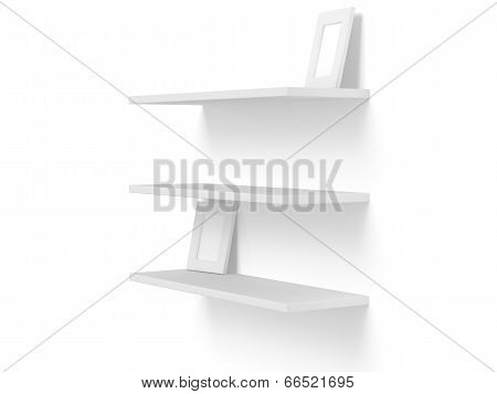 3D Three Empty Blank Shelves On White. Template.