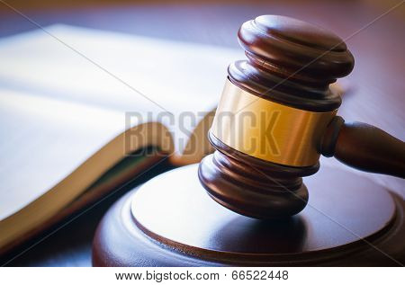 Gavel On Sounding Block