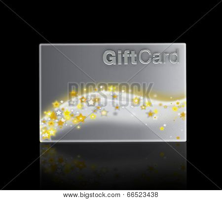 Silver gift card on a black background