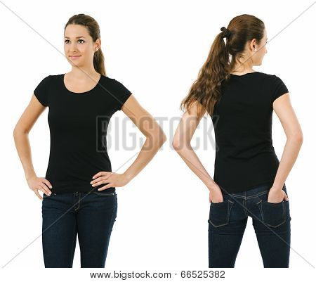 Smiling Woman Wearing Blank Black Shirt