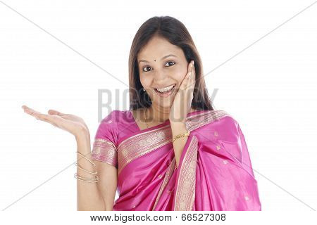 Excited Young Traditional Woman
