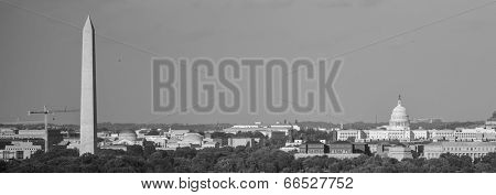 Washington DC skyline with Washington Monument, United States Capitol building and Potomac River - Black and White