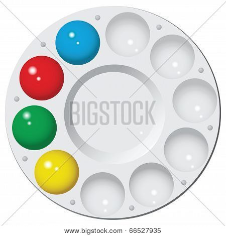 Round Palette With Water Color