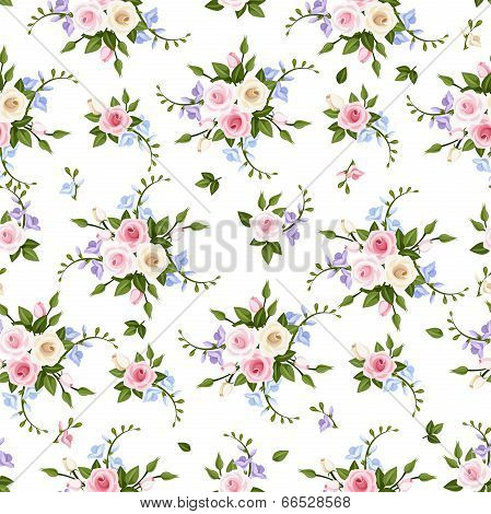 Vector seamless pattern with roses and freesia.