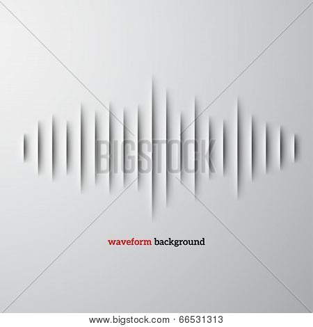 Paper sound waveform with shadow poster