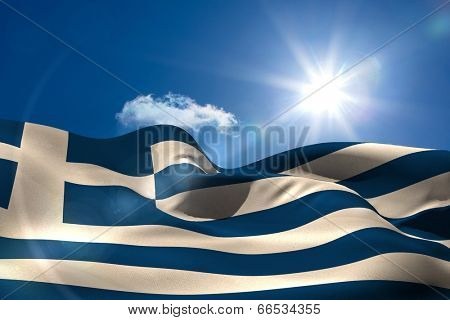 Digitally generated greek national flag under sunny sky