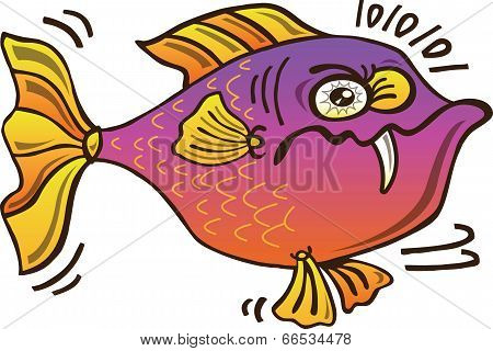 Upset chubby fish looking mistrustful
