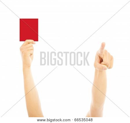 Hand Of Referee With Red Card And Point The Direction