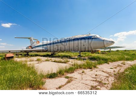 Samara, Russia - May 25, 2014: Old Russian Aircraft Tu-154 At An Abandoned Aerodrome In Summertime.