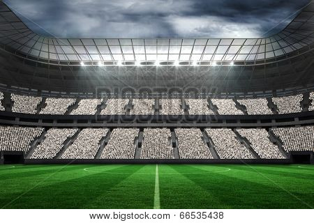 Digitally generated large football stadium with fans in white