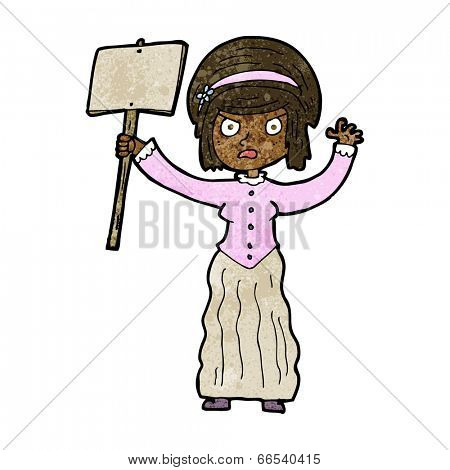cartoon victorian woman protesting
