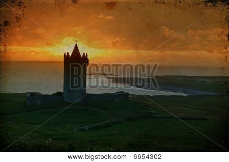 Sunset Capture Of A Old Irish Castle On West Coast Of Ireland