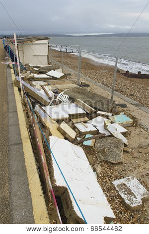 February 14 Storm Damage 2014, Concrete Beach Huts Damaged, Milford On Sea