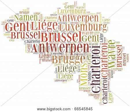 Tourism Concept Of Country Belgium And Big Cities