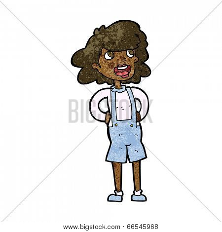 cartoon woman in dungarees