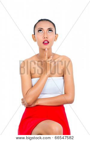 Asian woman thinking being pensive