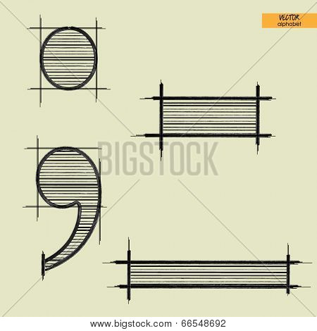 art simple alphabet in vector, classical black handmade font, sign point, semicolon and comma, dash and underscore