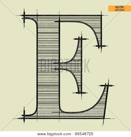 art simple alphabet in vector, classical black handmade font, letter E