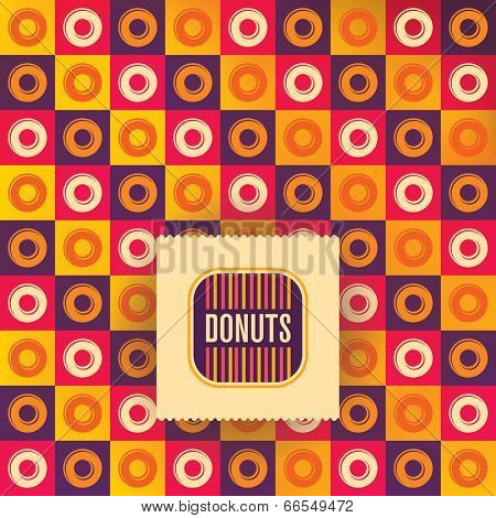 Illustration of donut background in color. Vector illustration.