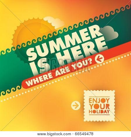 Illustration of colorful summer background. Vector illustration.