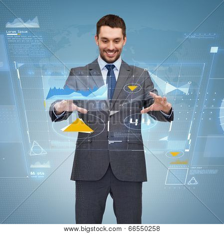 business, technology, communication concept - smiling businessman working with virtual screen