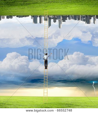 Businessman standing on ladder between two realities