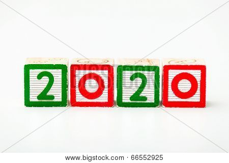Wooden block for year 2020