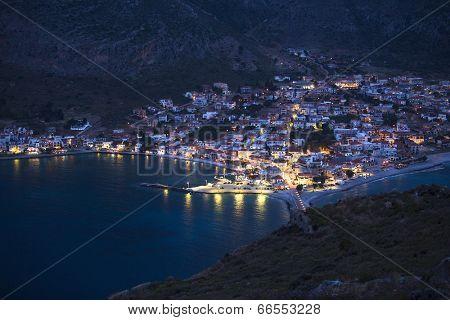 Marina of Monemvasia in night time, Greece.
