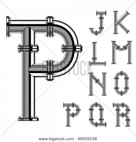 vector chrome pipe alphabet letters part 2