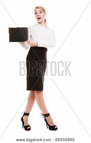 Full Length Of Surprised Businesswoman Showing Document Case