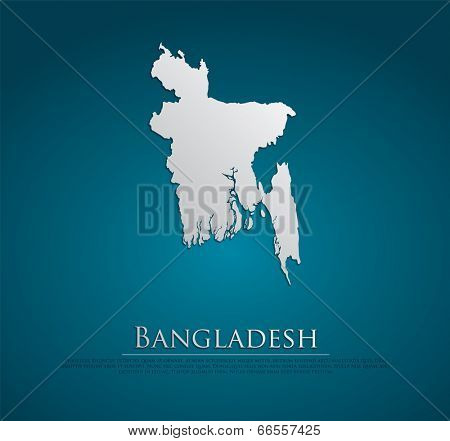vector Bangladesh Map card paper on blue background, high detailed