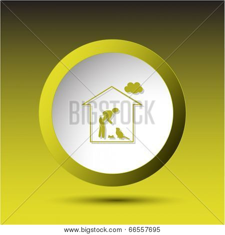 Home cat. Plastic button. Vector illustration.