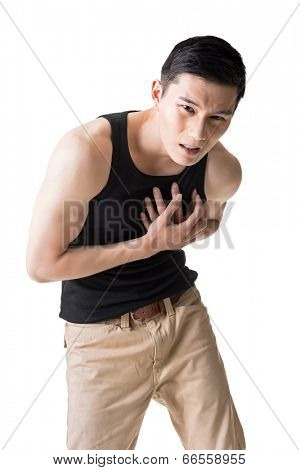 Asian young man with heart pain, close up portrait.