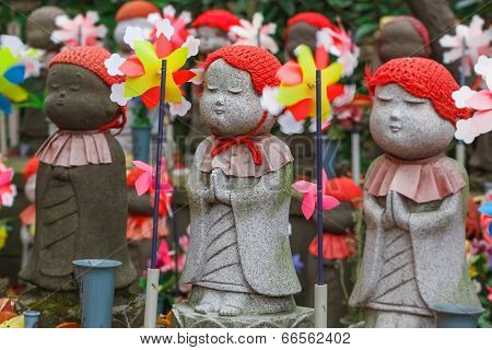 Jizo Statues for the unborn children at Zojoji Temple in Tokyo